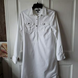Chaps White Shirt Dress